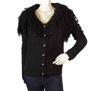 Christian Dior Black Fringe collar Wool Alpaga Kni